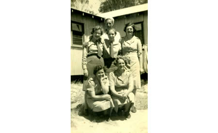 Staff of Australian Army Service Corps, including a cook. These staff served the officers in the mess, Northam Camp, c. 1942. Courtesy Elsie Solly