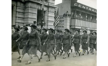 AWAS members participating in a military march in Perth, c 1942. Regimental marches were very much a part of the military tradition. At Northam Camp, the changing of the guard and the Last Post were part of daily life. Courtesy Elsie Solly