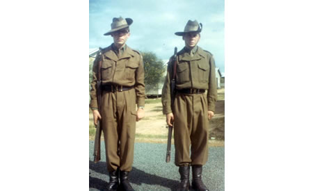 16 year olds Tony and Andrew MacLeod, Guildford Grammar Cadets at Northam Army Camp, 1967. Courtesy Anne Rothes MacLeod