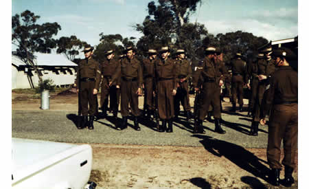Guildford Grammar Cadets, Northam, 1967. Andrew MacLeod rear left. Notice the windows to the barracks buildings to the left. Courtesy Anne Rothes MacLeod