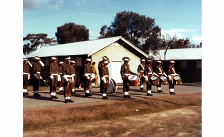 Guildford Grammar Cadet Band, Northam, 1967. Tony MacLeod lead bugler front left. Courtesy Anne Rothes MacLeod