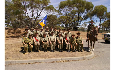 The 2006 St Joseph's Army Cadet Unit end of year photo on the northern side of Building J1 with support from a member of the 10th Light Horse Re-enactment Troop. Courtesy Mark Gargano, (Formerly) Captain (AAC), Officer Commanding St Joseph's Army Cadet Unit, Northam.