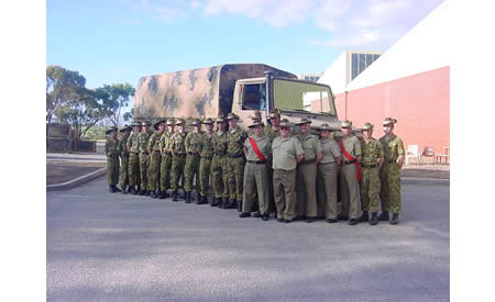 The 2005 St Joseph's Army Cadet Unit end of year photo taken in front of a Unimog from the unit's Army foster unit; 10 Transport Company on the northern side of Building J1. Courtesy Mark Gargano, (Formerly) Captain (AAC), Officer Commanding St Joseph's Army Cadet Unit, Northam.