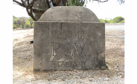 Masonry block with Italian POW inscription dated 24091946. Courtesy NACHA, 2010.