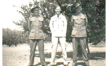Ted, Frank and Jim Brindle in the orchard at their Parkerville home, 1941. Courtesy Ted Brindle