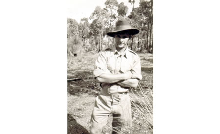 Private Edwin (Ted) Brindle, WX9806, 2/32nd Battalion, at Northam Army Camp, 1941. Courtesy Ted Brindle