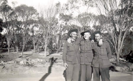 Perce Baker (Ted's brother in law), Ted Brindle, and Victor Bussau (Ted's cousin), Northam Camp, 1941. Courtesy Ted Brindle